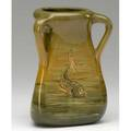 Weller hunter threehandled vase with fish on each side incised hunter impressed numbers 6 14 x 5