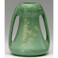 Weller fru russett twohandled vase with hanging branches of yellow blossoms lifting of glaze impressed mark 7 14 x 5 12