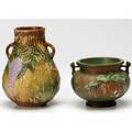 Roseville two pieces brown wisteria vase and green fuchsia jardiniere vase 6 12