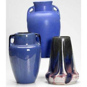 Fulper three vases covered in bright blue or blue to famille rose glaze all marked tallest 10 12