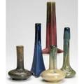 Fulper five bud vases in various glazes three marked tallest 8 14