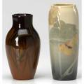 Rookwood two vases one iris glaze by elizabeth nourse with nasturtium hairline the other standard glaze by grace hall with crocuses taller 7 14