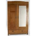 English arts  crafts armoire in quartersawn oak with mother of pearl and mahogany inlay 82 12 x 51 x 22 12