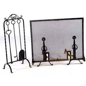 Arts  crafts wroughtiron fireplace set consisting of mesh firescreen two andirons with ball finials and fireplace tools with holder all with hammered detailing firescreen 30 x 37