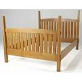 Contemporary arts  crafts queensized bed with slatted head and foot boards rectangular posts and arching crest rails 56 x 86 x 64 14