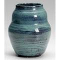 Newcomb guild gourdshaped vase covered in mottled bluegreen glaze nc markpaper label 7