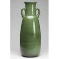 Western stoneware monmouth twohandled floor vase in matte green glaze on ribbed body stamped 26