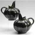 Hampshire attr pair of melonshaped pitchers in dark green glaze 9