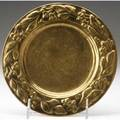 Jarvie hammered brass card tray embossed with a wreath of blossoms cleaned patina stamped the jarvie shop 7 12 dia