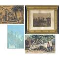 Global art seven pieces of art most framed frederick stuart church american 1842  1924 the mermaid and the sea wolf print 1934 signed mixed media on canvas unstretched unframed print o