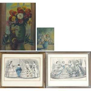 19th20th c artworks two untitled oil paintings framed helen f everett american 18831965 still life oil on canvas signed 18 x 14 agnes elizabeth shurly wilson american 18321904 oil