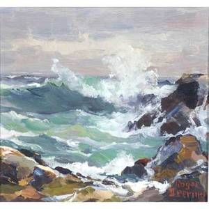 Roger deering american b 1904 high surf maine coast oil on canvas framed 1962 provenance private collection pennsylvania signed dated and titled 8 x 10
