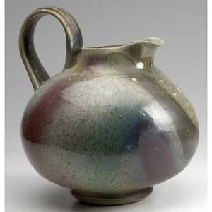 Asian pottery oversized stoneware pitcher with multicolored glaze 13