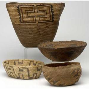 Native american four woven baskets most californian largest 11 x 13 12 dia
