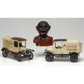 Castiron toys three pieces black subject mechanical bank asis macdonald truck and cocacola truck