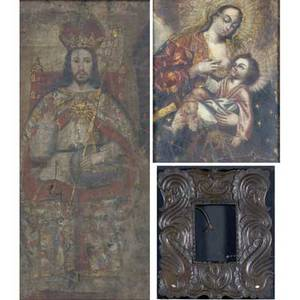 Religious art two works of art mother and child oil on canvas laid on board framed 19 12 x 15 14 sight untitled oil on canvas laid on board framed 27 12 x 12 sight together