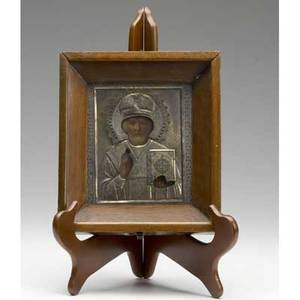 Russian icon st nicholas with silver cover in oak shadowbox frame late 19th c 5 x 6