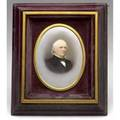 Painting on porcelain depicting a gentleman in 19th c dress signed graf dresden 1879 5 12 x 7 12 sight