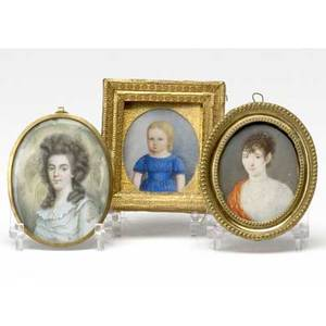 Portrait miniatures three paintings two of women and one of a child probably on ivory 19th c largest 2 12 x 3