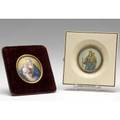 Portrait miniatures depicting religious subjects on porcelain and on ivory larger 4 14 sq