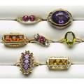 Gold and gemstone rings seven rings of 14k yg and amethyst with diamonds citrines peridot amethysts synthetic rubies and cubic zirconia 32 gs tw sizes 68 12