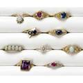Gold and gemstone rings ten rings in 14k some with diamonds ruby opal sapphire amethyst ca 19201980 28 gs