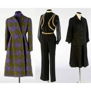 Ladies vintage clothing threepiece black suit with jeweled trim black twopiece watered silk skirt and matching jacket and a pauline trigere coat