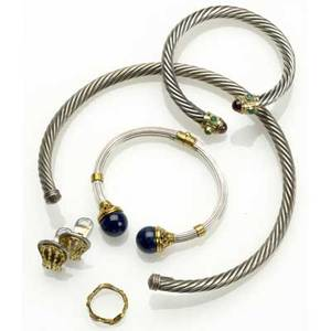 Gold and silver jewelry by la laounis and others la laounis hinged cuff goldbanded silver gold and lapis terminals la laounis silver ear clips with 18k yg accents 18k textured yg band size 6 12