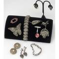 Early to mid20th c silver and marcasite jewelry  watches art deco brooch and similar earrings with red and black enamel two link bracelets english lapel watch in the form of a flower basket swis