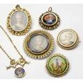 Gold portrait jewelry six pieces include 14k and limoges enamel bow necklace limoges enamel and pearl pendant scenic enamel brooch with woman and dog miniature on ivory with pearls two gemset min