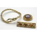Victorian or victorian style jewelry 18k serpent bracelet with emeralds and 15 ct diamonds c 1960 14k bar brooch with pearls and orange gems c 1910 14k brooch with amethyst inscribed and dat