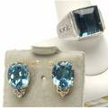 London blue topaz  gold jewelry 14k yg earrings each an oval faceted topaz weighing approx 6 cts with white topaz accents gents ring features a 13 ct emerald cut topaz enhanced by 6 brilliant