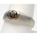 Gentlemans cognac diamond gold ring circular brilliantcut diamond approx 75 ct in a matte 14k wg gypsy setting 74 gs size 9 34