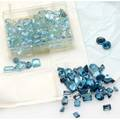 Unmounted blue topaz gemstones onehundred thirty stones mixed oval emerald pear cuts 752 cts london blue sky blue