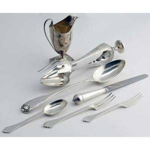 James robinson english silver with a pair of dutch silver salad tongs 18091871 eight fourpiece trifid pattern place settings includes six forks 7 18 eight forks 6 12 eight rattail han