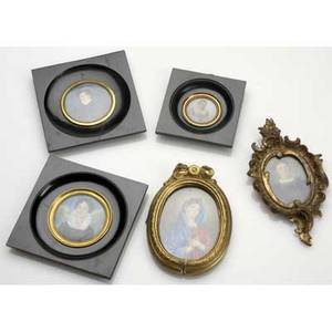 Portrait miniatures five paintings of women two in oval gilded frames three in black lacquer frames largest 5 14 x 5 14