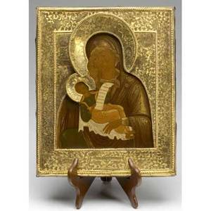 Russian icon gilded mother of god with brass cover and removable oklad dated 1852 11 34 x 14 14