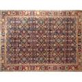 Bijar room size rug with all over design on blue ground ca 1970 in good condition 9 x 10 5