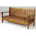 L jg stickley drop arm settle with slatted back and dropin seat handcraft label 36 12 x 77 x 29