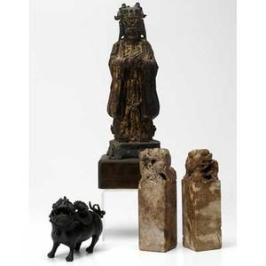 Asian figurines four pieces chinese gilt bronze figure on wooden base two carved soapstone seals bronze buddhistic lion censor possibly japanese tallest 13 12