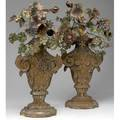 Italian rococo decorative carved wooden urns with polychrome tin flowers traces of original silver gilding still visible possibly 18th c 25
