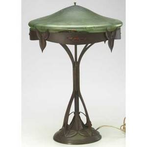Art nouveau austrian bronze table lamp with green glass shade possibly by loetz significant damage to shade 24 x 16 dia