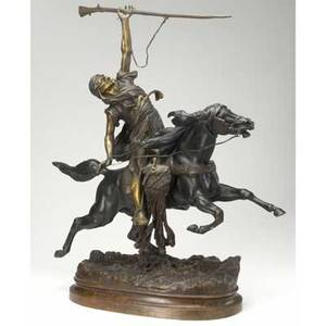 Le courtier bronze figure of middleeastern warrior mounted on metal base signed le courtier early 20th c 33 12 x 19 12 x 12