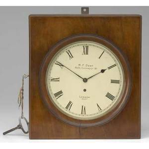 Mf dent london campaign clock with brass fusee movement and mounted in mahogany box 11 12 x 12 12