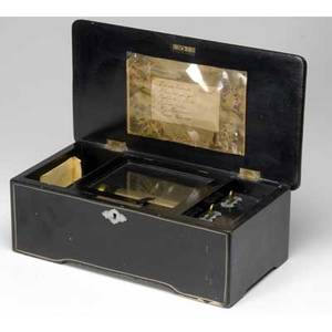 Music box ebonized swiss six tune cylinder music box ca 1900 14 x 9