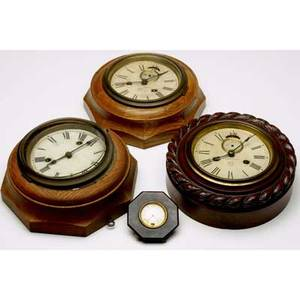 Kitchen clocks three by ansonia and sessions together with a german celluloid dresser clock largest 9 14 dia