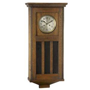 Wall clock in oak case with chime and strike mechanism early 20th c 36