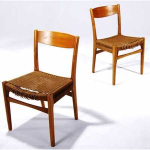 Swedish pair of birch side chairs with woven rope seats 30 12 x 18 12 x 18 12