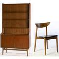 Moreddi collection teak secretary with open shelves tambour doors and sliding door base with teak side chair with leather cushion both marked bm made in denmark secretary 71 12 x 39 12 x 17