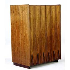 Norwegian rosewood desk in a box with twodoors concealing an interior workstation with drawers and shelves 45 x 32 x 21